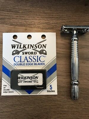 New DE Safety Razor. Butterfly Chrome Handle W/ 5 Free Wilkinson Sword Blades