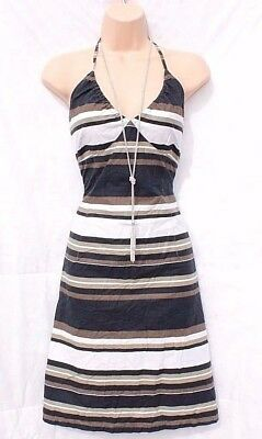 Women's Vintage H&M Fitted Cream Brown Black Striped Cotton Dress Size UK14 UK16
