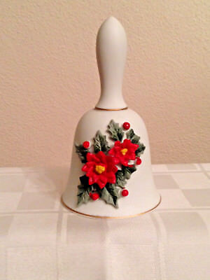 Vintage Lefton Christmas Bell With Poinsettias Kw8030