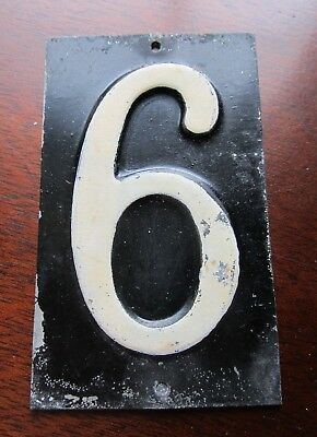 "Antique 1940s Vintage ENAMEL HOUSE NUMBER # 6 Mailbox CRAFTS 3 3/4"" x 2 1/8"""