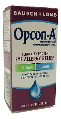 Opcon-A  Bausch Lomb Allergy Relief Eye Drops 0.5 oz Exp. 6/2019