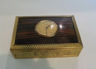 French Gilt Brass & Wood Box, 8-Day Clock Insert in Top