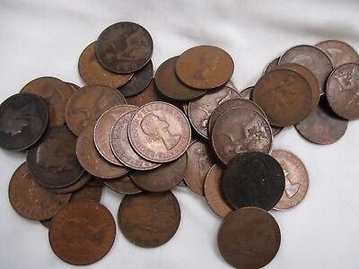 Large Lot Of English Pennies- 50 Pieces- 1896-1967- Circ-AU- NR