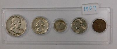1957 Complete circulated year set of 5 average circ coins