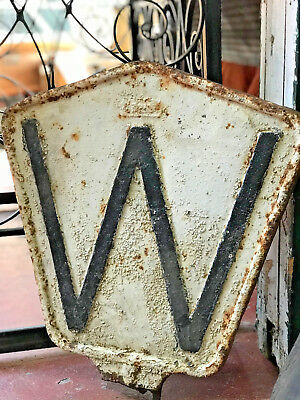 "RARE Norfolk & Western Whistle Post RR Sign Cast Iron W 19"" tall N&W Railroad"