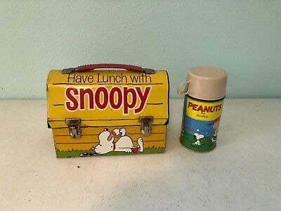 """Vintage """"Have Lunch/Go To School With Snoopy"""" 1968 Metal Lunch Box & Thermos"""