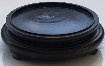 Beautiful Small Antique Chinese Carved Wooden Bowl Or Vase Stand 19Th Century