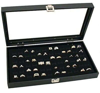Novel Box Glass Top Black Jewelry Display Case 72 Slot Compartment Ring Tray new