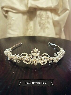 David's Bridal Crystal and Pearl Tiara Wedding Pageant