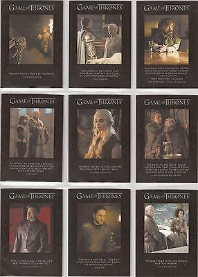 Game of Thrones Season 6 Trading Cards - The Quotable Special-Set (Q51 - Q59)