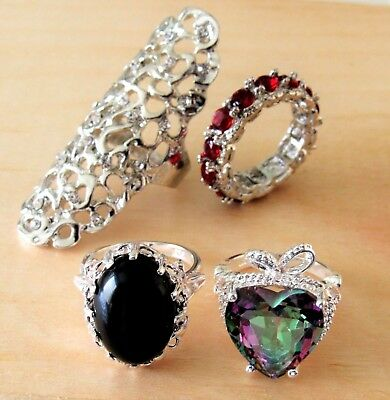 Size 7 fashion rings wholesale lot of 4 pcs set boho crystal cocktail gifts new