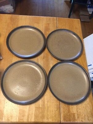 "4 Denby Romany Brown 10"" Dinner Plates"