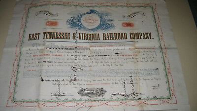 East Tennesse & Virginia Railroad Co  $500 2Nd Mortgage Bond  1857   Unknown (?)