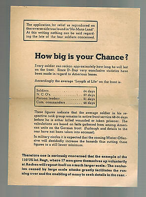 Original Germany WW 2 Surrender Leaflet For US Troops D Day Casualties