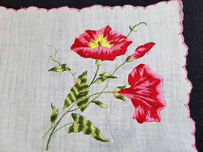 Vintage Lovely Pink Red Embroidered Floral Scalloped Handkerchief Hankie Hanky