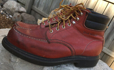 87272ed8a72 VINTAGE RED WING Mens 204 Moc Toe Super Sole Ankle Work Boots Brown Leather  10 D