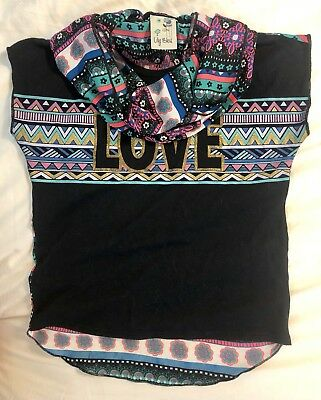 "BTS Girl's Sz 7-8/S/Small short sleeve shirt/top Black ""LOVE"" w/scarf gold FREE"