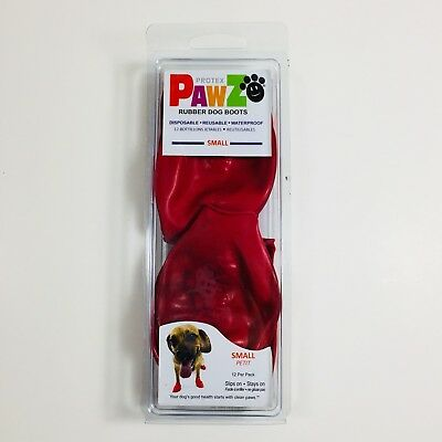 Pawz Waterproof Dog Boots Disposable Reusable Set of 12 Red Size Small