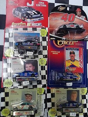 LOT OF 6- 1/64 NASCAR Racing Cars Cards Marlin Bodine Burton Reeves Skinner