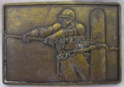 Unique Vintage Telephone Pole Lineman Worker Brass Belt Buckle
