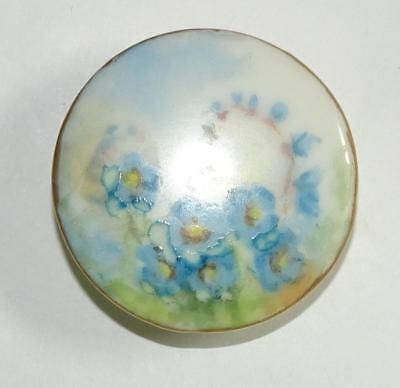 """Antique Button/Stud with Blue Hand Painted Flowers Gold Border Large 1.28"""""""