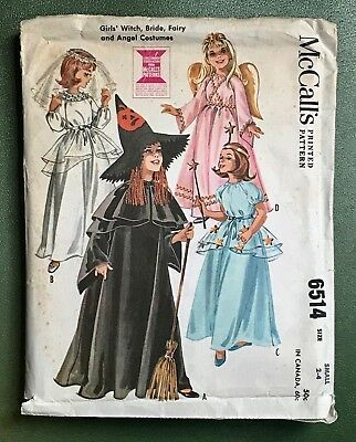 60s Child's Sewing Pattern Vintage Halloween Costumes Size 2-4 McCalls 6514