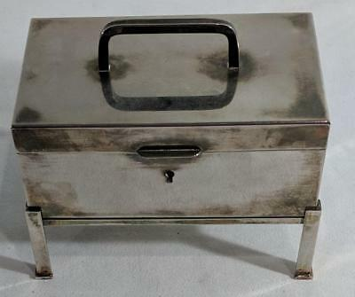 AD Pottery Barn Locking Deed Box Silver Plated on Stand w 2 Keys & Info Card EUC