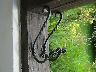 Pair of Vintage French Wrought Iron Coat Hooks , Hat Hooks