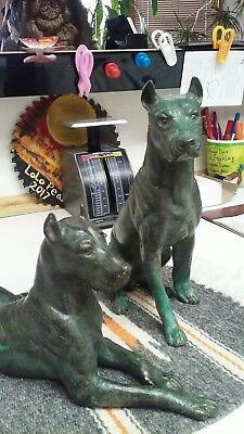 Great Danes bronze sculpture with patina TWO heavy