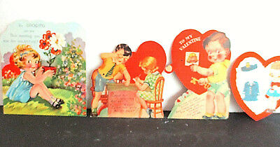 Group of  Four Vintage Valentines. Some Movable, Punchout. Paper Flower.