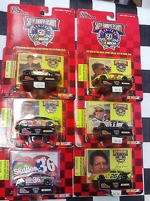 LOT OF 6- 1/64 NASCAR Racing Cars Cards Burton Bodine Benson Nadeau Irvan Skittl