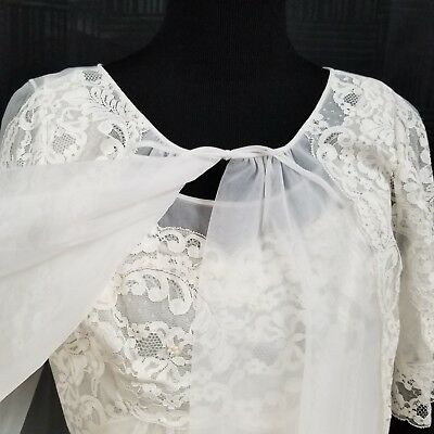 Vintage Shadowline Bridal Peignoir Set Small Sheer Robe Gown Nylon Chiffon Pinup