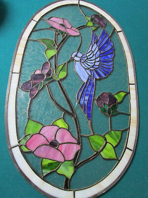Tiffany Style Stained  GLASS FLOWERS AND HUMMINGBIRD 22 X 13""