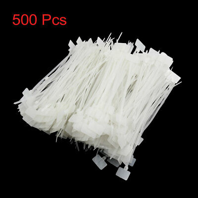 500pcs Universal White 4mm x 150mm Nylon Marker Cable Tie Tag Wire Loop Strap
