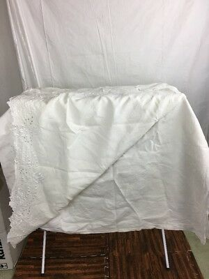 """Antique/Vintage Flat Sheet Linen with Elaborate Embroidery, Cutwork,Lace 86x104"""""""