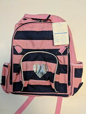 Pottery Barn Kids Fairfax Backpack, No Name, Pink/Blue Strips Silver Heart Large