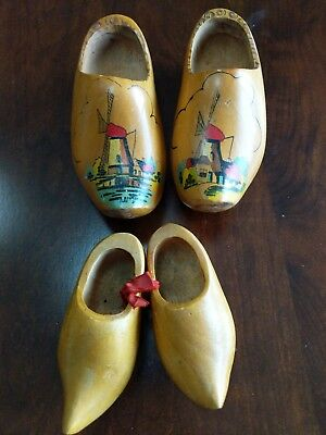 Old Vintage Hand Carved Painted Dutch Wooden Shoes Clogs Holland Windmill Wood