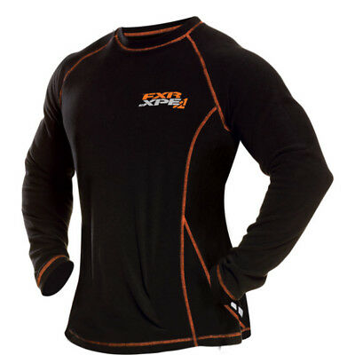 FXR Mens Black/Orange Pyro Thermal Snowmobile Long Sleeve Base Layer Snow