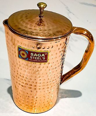 1x PURE COPPER WATER JUG HAMMERED PITCHER MEDICAL AYURVEDA EXPRESS POST