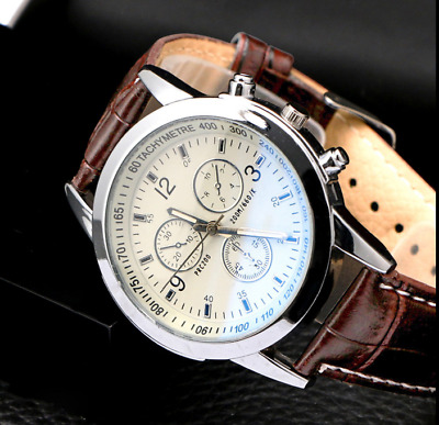 Men's Leather Military Casual Analog Quartz Wrist Watch Business Watches Gift