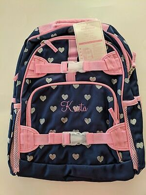 Pottery Barn Kids Backpack, Navy with Silver Hearts, Large, Krista on Front, New