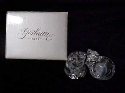 Crystal Cats Salt & Pepper Shakers Gorham Made Germany new in box w labels