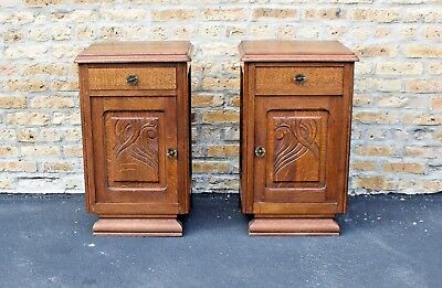 Pair of French Art Deco, 1930's  Nightstands - Carved Oak - Excellent