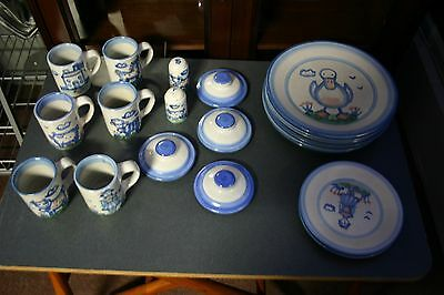 M.A. Hadley Pottery 19 PIECE SET Country Scene Blue Collection Signed RARE!!!