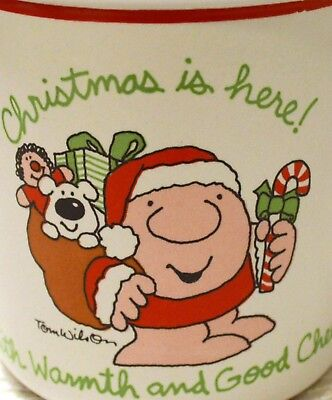 """One of 4 - Vintage Ziggy Mug """" Christmas is Here With Warmth and Good Cheer"""""""