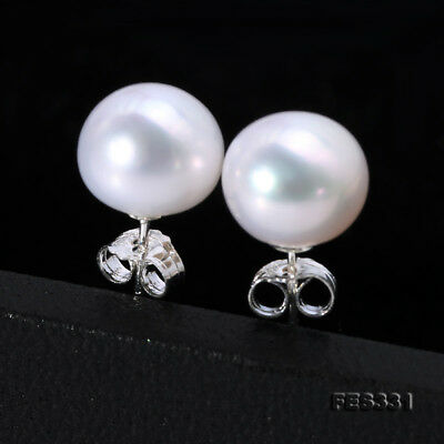 Real 10mm White Freshwater Pearl Studs Earrings 925 Sterling Silver for Women