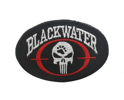 Blackwater Punisher Skull Tactical Military Embroidered Morale Hook Patch Dark
