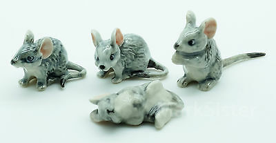Figurine Animal Ceramic Statue Miniature 4 Gray rat Mouse Mice - CCK069