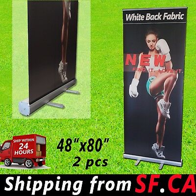 "2 pcs,48"" x 80"",Retractable Roll Up Banner Stand Trade Show Pop Up Display Stand"