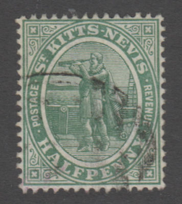 St. Kitts-Nevis - 1916 1/2p Dull Blue Green, Sc. #12a, S.G. #12a. Used